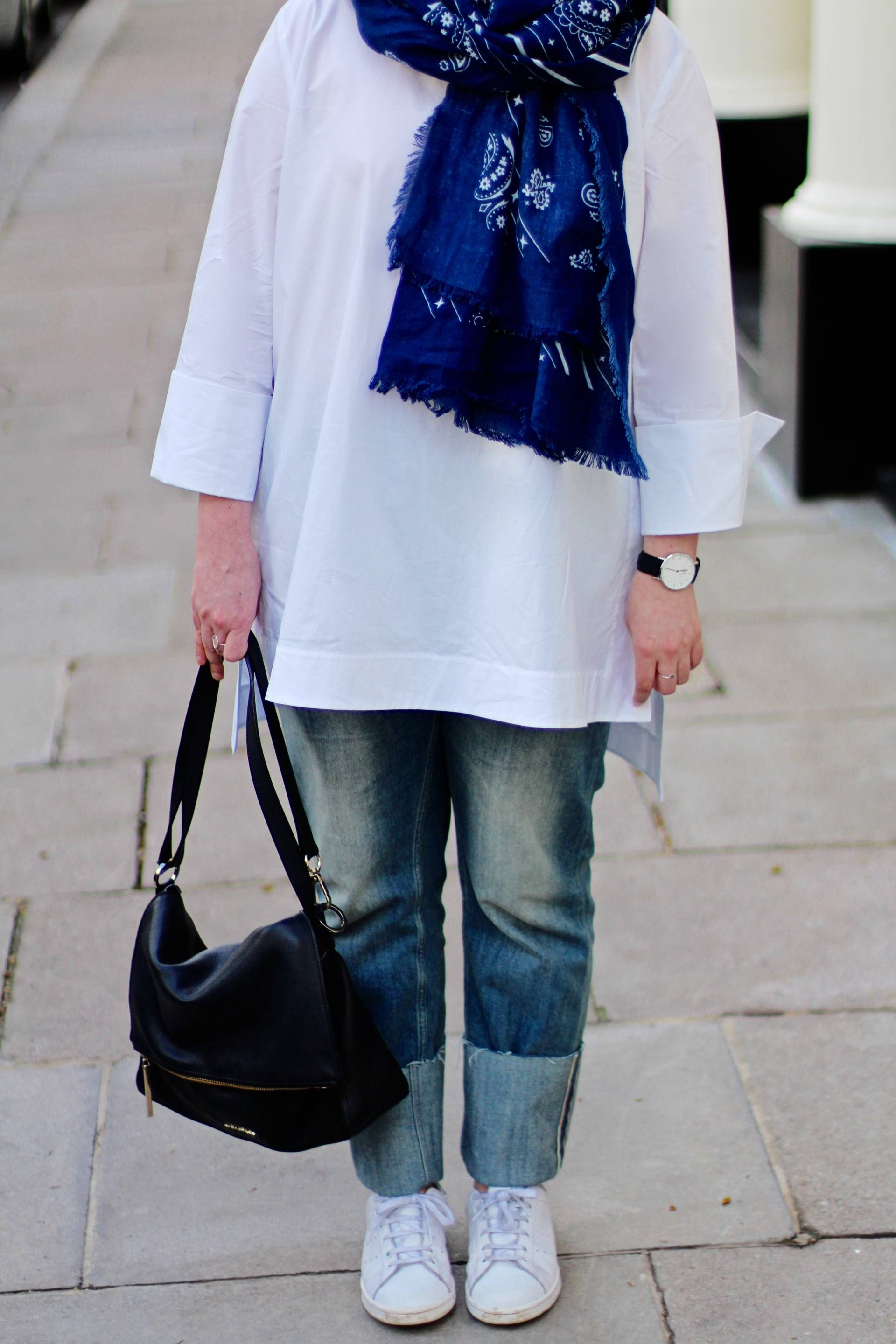 white cuffed cos shirt styled with MiiH phoebe cuff jeans and bandana scarf
