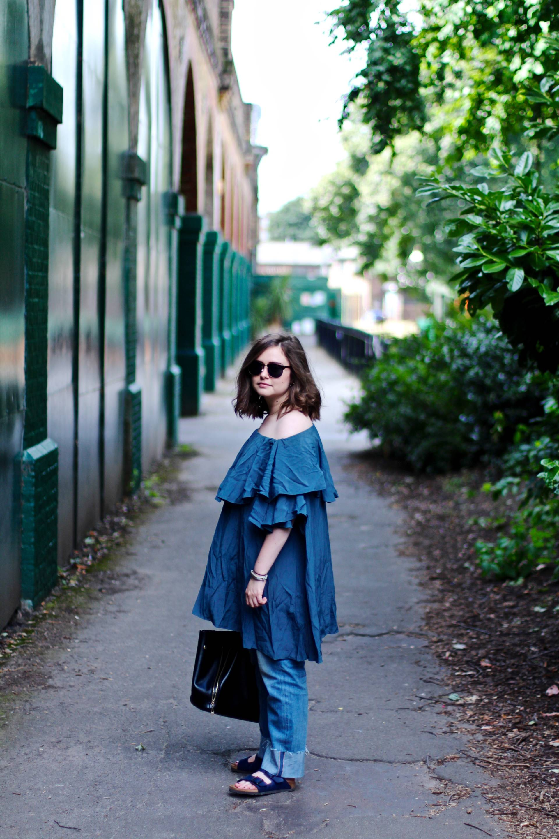 mlm off shoulder teal dress